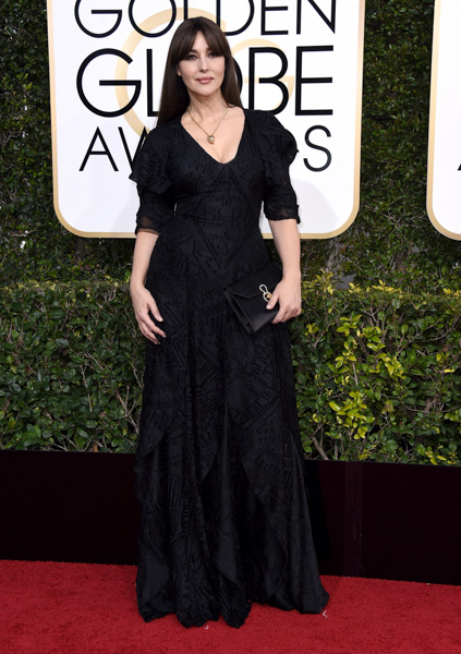 "<div class=""meta image-caption""><div class=""origin-logo origin-image none""><span>none</span></div><span class=""caption-text"">Monica Bellucci arrives at the 74th annual Golden Globe Awards at the Beverly Hilton Hotel on Sunday, Jan. 8, 2017, in Beverly Hills, Calif. (Jordan Strauss/Invision/AP)</span></div>"