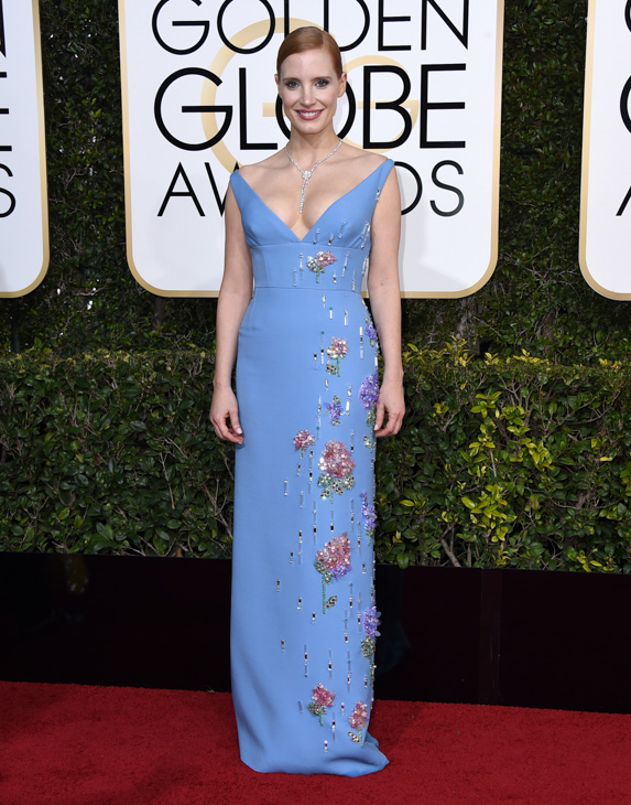 <div class='meta'><div class='origin-logo' data-origin='none'></div><span class='caption-text' data-credit='Jordan Strauss/Invision/AP'>Jessica Chastain arrives at the 74th annual Golden Globe Awards at the Beverly Hilton Hotel on Sunday, Jan. 8, 2017, in Beverly Hills, Calif.</span></div>