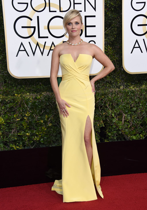 <div class='meta'><div class='origin-logo' data-origin='none'></div><span class='caption-text' data-credit='Jordan Strauss/Invision/AP'>Reese Witherspoon arrives at the 74th annual Golden Globe Awards at the Beverly Hilton Hotel on Sunday, Jan. 8, 2017, in Beverly Hills, Calif.</span></div>