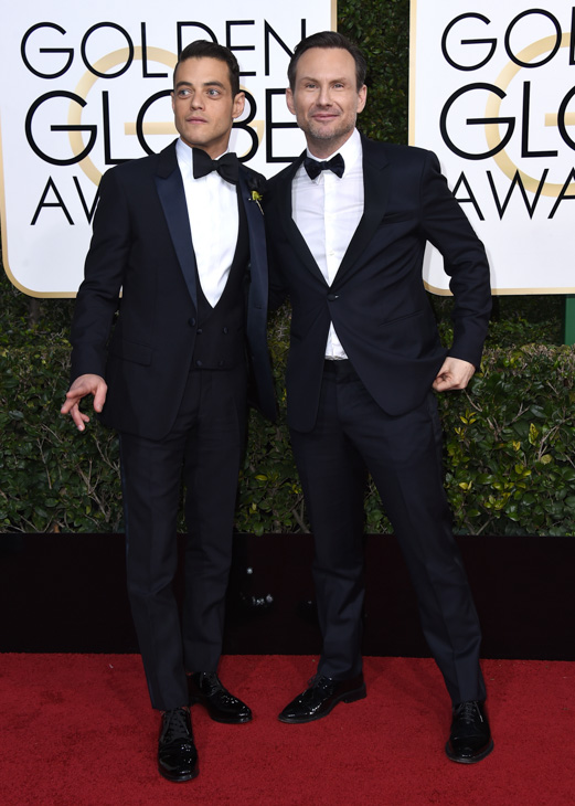 <div class='meta'><div class='origin-logo' data-origin='none'></div><span class='caption-text' data-credit='Jordan Strauss/Invision/AP'>Rami Malek , left, and Christian Slater arrive at the 74th annual Golden Globe Awards at the Beverly Hilton Hotel on Sunday, Jan. 8, 2017, in Beverly Hills, Calif.</span></div>