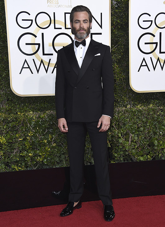 <div class='meta'><div class='origin-logo' data-origin='none'></div><span class='caption-text' data-credit='Jordan Strauss/Invision/AP'>Chris Pine arrives at the 74th annual Golden Globe Awards at the Beverly Hilton Hotel on Sunday, Jan. 8, 2017, in Beverly Hills, Calif.</span></div>
