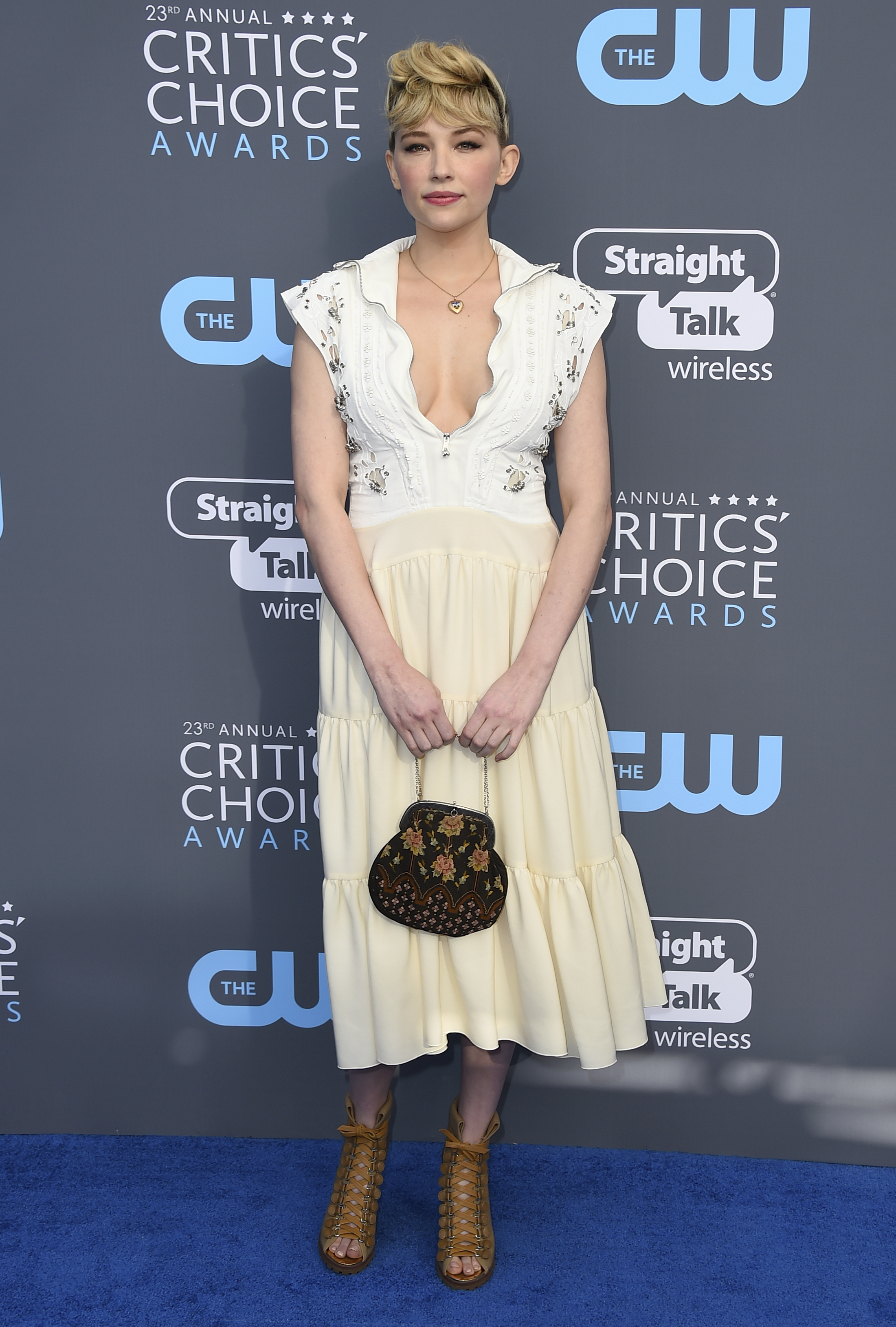 <div class='meta'><div class='origin-logo' data-origin='AP'></div><span class='caption-text' data-credit='Jordan Strauss/Invision/AP'>Haley Bennett arrives at the 23rd annual Critics' Choice Awards at the Barker Hangar on Thursday, Jan. 11, 2018, in Santa Monica, Calif.</span></div>