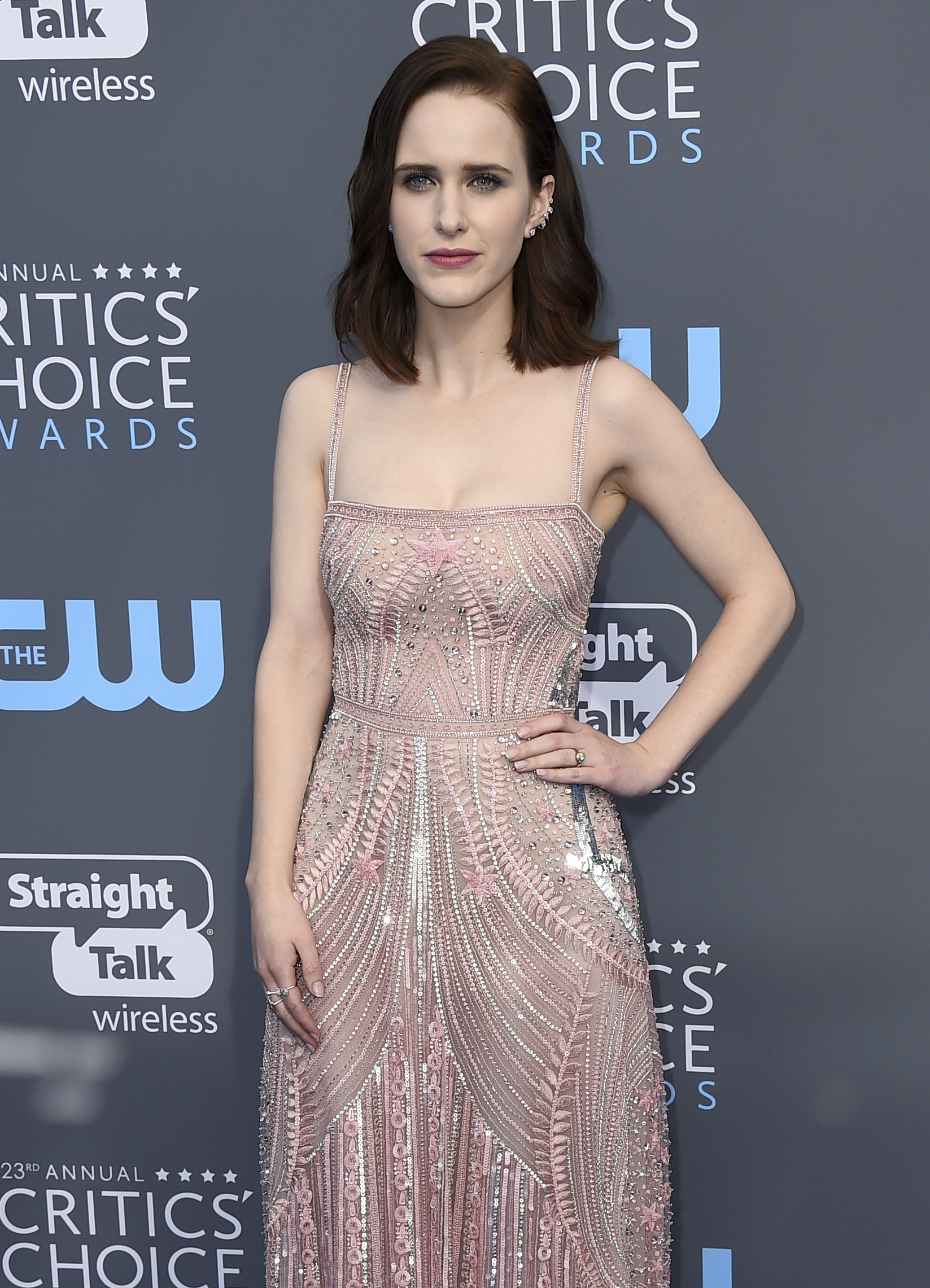 <div class='meta'><div class='origin-logo' data-origin='AP'></div><span class='caption-text' data-credit='Jordan Strauss/Invision/AP'>Rachel Brosnahan arrives at the 23rd annual Critics' Choice Awards at the Barker Hangar on Thursday, Jan. 11, 2018, in Santa Monica, Calif.</span></div>