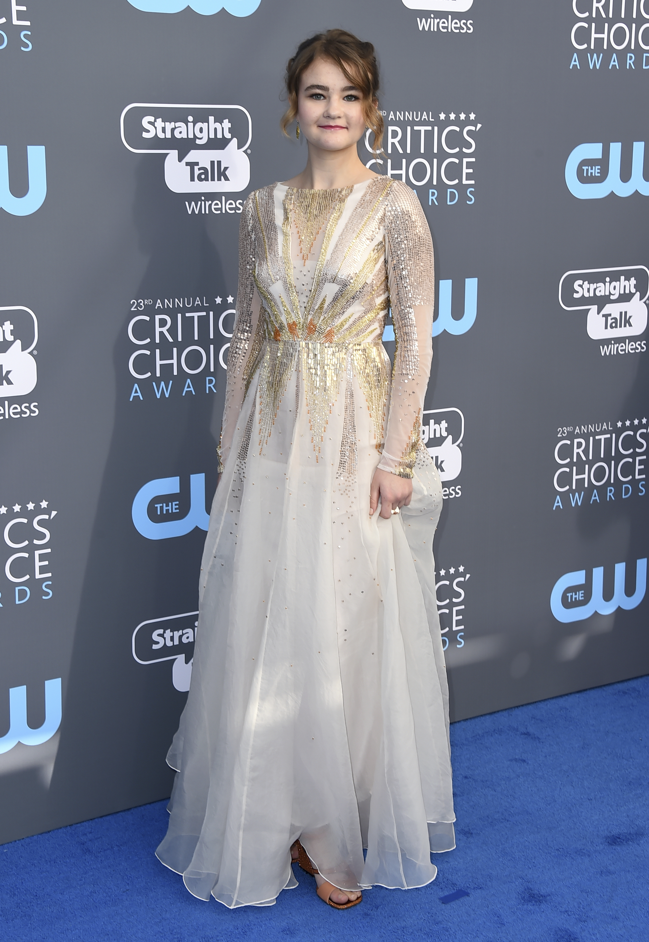 <div class='meta'><div class='origin-logo' data-origin='AP'></div><span class='caption-text' data-credit='Jordan Strauss/Invision/AP'>Millicent Simmonds arrives at the 23rd annual Critics' Choice Awards at the Barker Hangar on Thursday, Jan. 11, 2018, in Santa Monica, Calif.</span></div>