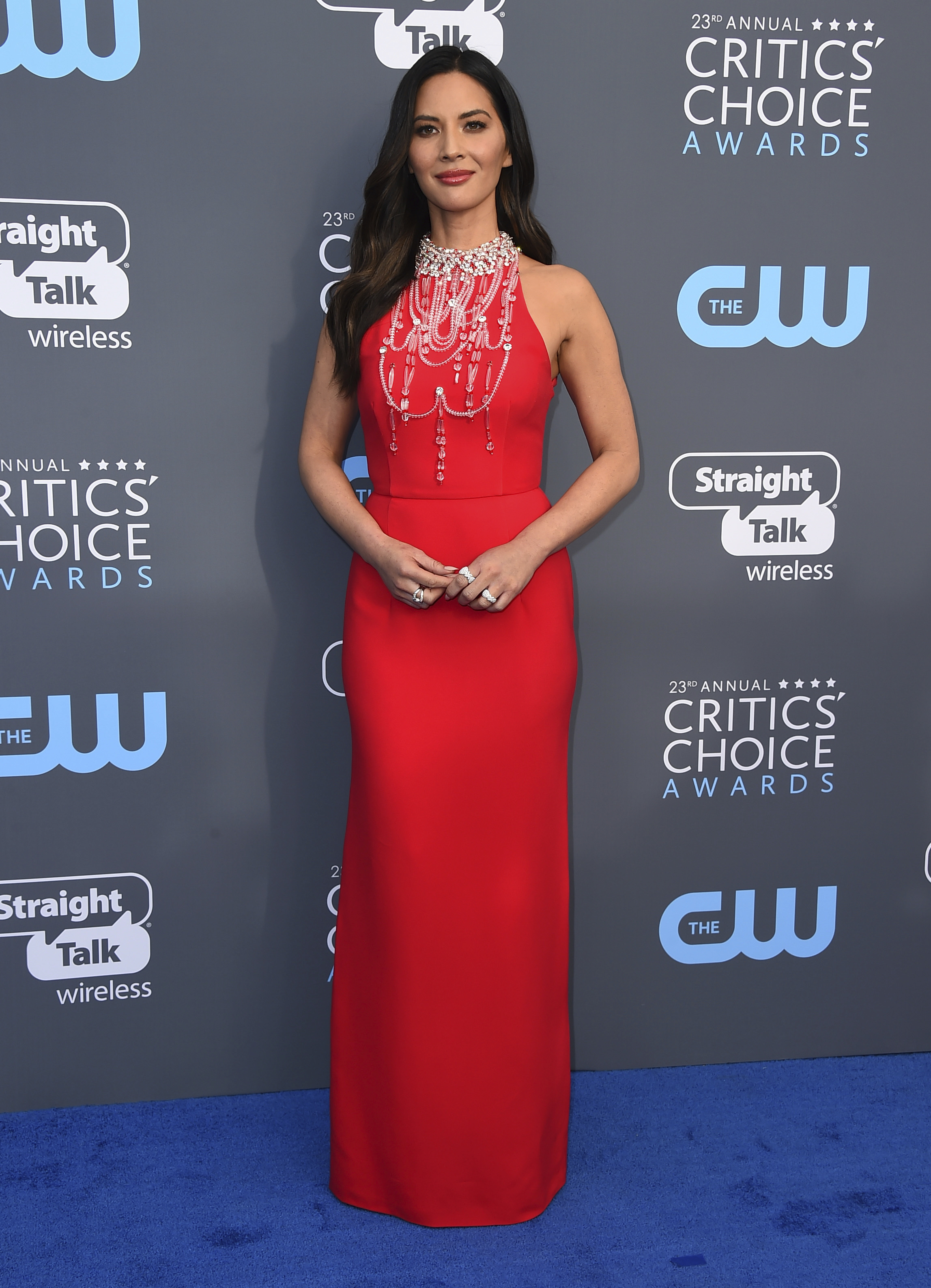 <div class='meta'><div class='origin-logo' data-origin='AP'></div><span class='caption-text' data-credit='Jordan Strauss/Invision/AP'>Olivia Munn arrives at the 23rd annual Critics' Choice Awards at the Barker Hangar on Thursday, Jan. 11, 2018, in Santa Monica, Calif.</span></div>
