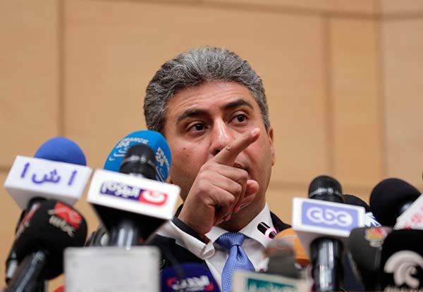<div class='meta'><div class='origin-logo' data-origin='none'></div><span class='caption-text' data-credit='Amr Nabil/AP Photo'>Egyptian Minister of Civil Aviation Sharif Fathy speaks during a press conference at the Ministry headquarters in Cairo, Egypt, Tuesday, March 29, 2016</span></div>