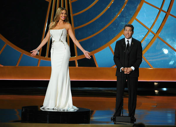 Sofia Vergara caught criticism for a bit in which she was an example of &#39;&#39;something compelling to look at&#39;&#39; on TV. She said critics took the joke the wrong way. <span class=meta>(Photo&#47;Vince Bucci)</span>