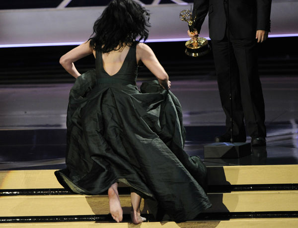 Sarah Silverman, who created buzz for claiming that she brought &#39;&#39;liquid pot&#39;&#39; to the show, also ran up to get her award without any shoes on. <span class=meta>(Photo&#47;Chris Pizzello)</span>