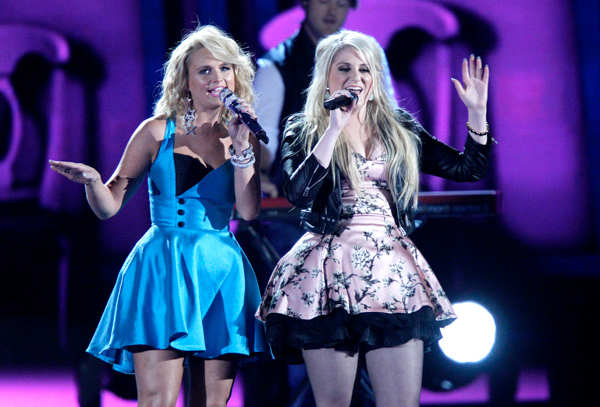 "<div class=""meta image-caption""><div class=""origin-logo origin-image none""><span>none</span></div><span class=""caption-text"">Miranda Lambert, left, and Meghan Trainor perform on stage at the 48th annual CMA Awards at the Bridgestone Arena on Wednesday, Nov. 5, 2014, in Nashville, Tenn. (Wade Payne/Invision/AP)</span></div>"