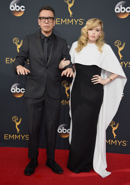 <div class='meta'><div class='origin-logo' data-origin='AP'></div><span class='caption-text' data-credit='Phil McCarten/Invision/AP'>Fred Armisen, left, and Natasha Lyonne arrive at the 68th Primetime Emmy Awards on Sunday, Sept. 18, 2016, at the Microsoft Theater in Los Angeles.</span></div>