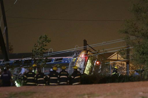 <div class='meta'><div class='origin-logo' data-origin='none'></div><span class='caption-text' data-credit='AP Photo/ Matt Slocum'>Emergency personel work the scene of a train wreck, Tuesday, May 12, 2015, in Philadelphia. An Amtrak train headed to New York City derailed and crashed in Philadelphia.</span></div>