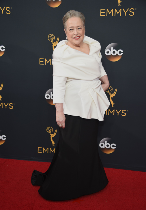 <div class='meta'><div class='origin-logo' data-origin='AP'></div><span class='caption-text' data-credit='Phil McCarten/Invision/AP'>Kathy Bates arrives at the 68th Primetime Emmy Awards on Sunday, Sept. 18, 2016, at the Microsoft Theater in Los Angeles.</span></div>
