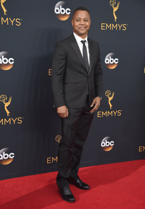 <div class='meta'><div class='origin-logo' data-origin='AP'></div><span class='caption-text' data-credit='Phil McCarten/Invision/AP'>Cuba Gooding Jr. arrives at the 68th Primetime Emmy Awards on Sunday, Sept. 18, 2016, at the Microsoft Theater in Los Angeles.</span></div>