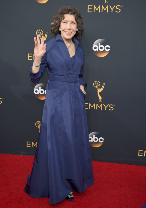 <div class='meta'><div class='origin-logo' data-origin='AP'></div><span class='caption-text' data-credit='Phil McCarten/Invision/AP'>Lily Tomlin arrives at the 68th Primetime Emmy Awards on Sunday, Sept. 18, 2016, at the Microsoft Theater in Los Angeles.</span></div>