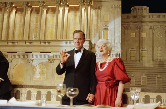 <div class='meta'><div class='origin-logo' data-origin='none'></div><span class='caption-text' data-credit='AP'>VP George Bush and his wife Barbara Bush are shown during a fundraiser in Washington where he picked up the endorsement of President Reagan in his bid to become the next president</span></div>
