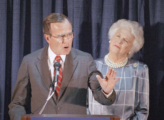 <div class='meta'><div class='origin-logo' data-origin='none'></div><span class='caption-text' data-credit='AP'>Republican presidential candidate George H.W. Bush, with wife Barbara looking on, speaks to a gathering at a GOP Victory '88 reception held at the Ontario Hilton Hotel June 6, 1988</span></div>