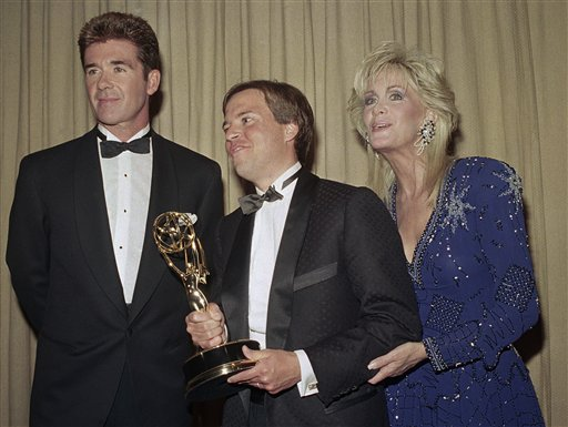 "<div class=""meta image-caption""><div class=""origin-logo origin-image ap""><span>AP</span></div><span class=""caption-text"">Alan Thicke, left, and Joan Van Ark, right, present Bob Costas, center, with the Sports Emmy for Outstanding Personality/Host in New York in night on Wednesday, July, 14, 1988. (AP Photo/Mark Lennihan)</span></div>"