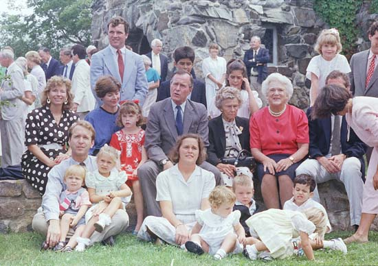 <div class='meta'><div class='origin-logo' data-origin='none'></div><span class='caption-text' data-credit='ASSOCIATED PRESS'>Vice President George H. W. Bush, center, poses with his family outside St. Anns Church, Sunday, Aug. 8, 1988, Kennebunkport, Me.</span></div>