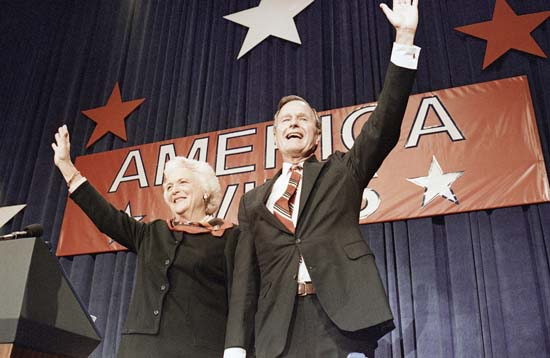 <div class='meta'><div class='origin-logo' data-origin='none'></div><span class='caption-text' data-credit='AP'>President-elect George H.W. Bush, right, and his wife Barbara, wave to the crowd at a victory celebration rally, Tuesday, Nov. 8, 1988, Houston, Tex. (AP Photo/J. Scott Applewhite)</span></div>
