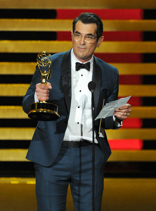 &#39;&#39;Modern Family&#39;&#39; had a five-peat, winning Outstanding Comedy Series again. For his actor award, Ty Burrell read a speech the show&#39;s kids had prepared for him. <span class=meta>(Photo&#47;Vince Bucci)</span>