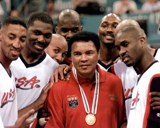 <div class='meta'><div class='origin-logo' data-origin='none'></div><span class='caption-text' data-credit='AP'>Muhammad Ali poses with Dream Team members   Scottie Pippen, Hakeem Olajuwon, Reggie Miller, Shaquille O'Neal, Karl Malone and Gary Payton.</span></div>