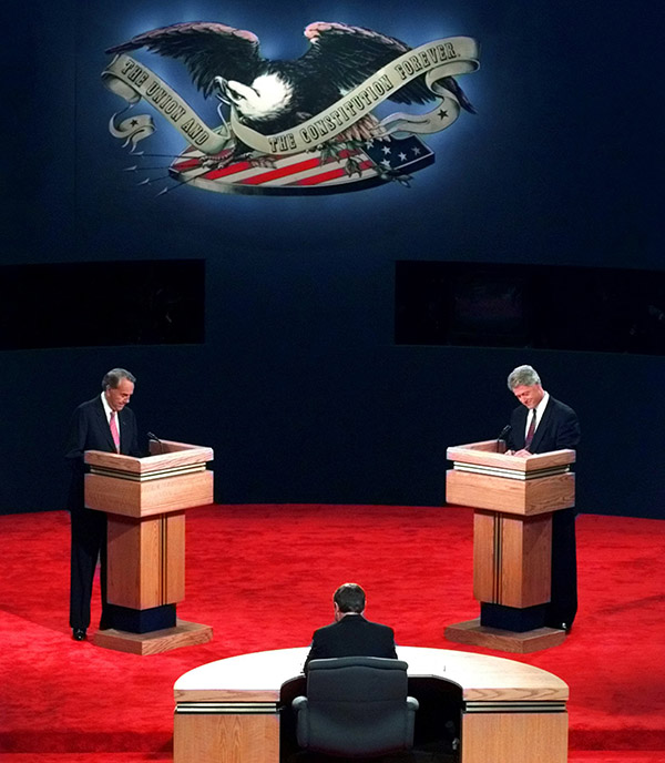 <div class='meta'><div class='origin-logo' data-origin='AP'></div><span class='caption-text' data-credit='Charles Krupa/AP'>President Clinton and Bob Dole prepare for opening remarks at the presidential debate at the Bushnell Theater in Hartford, CT, Sunday Oct. 6, 1996.</span></div>