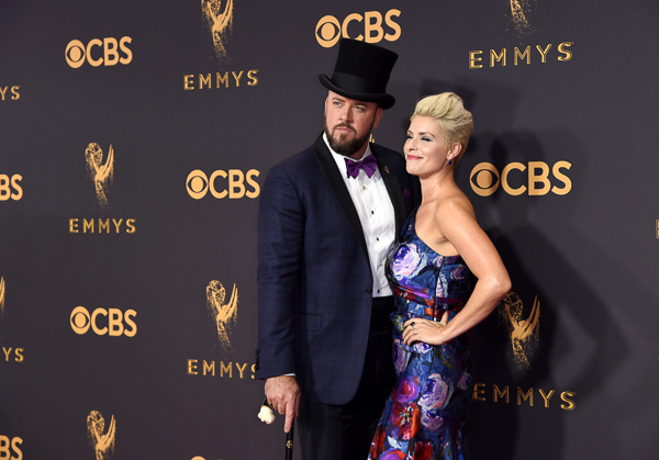 "<div class=""meta image-caption""><div class=""origin-logo origin-image wtvd""><span>wtvd</span></div><span class=""caption-text"">Chris Sullivan, left, and Rachel Reichard arrive at the 69th Primetime Emmy Awards (Richard Shotwell/Invision/AP)</span></div>"