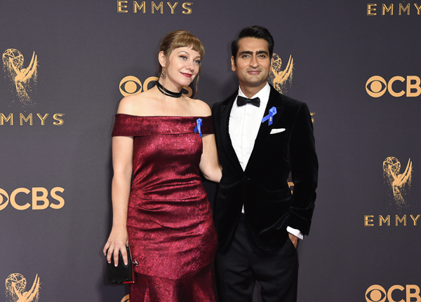 "<div class=""meta image-caption""><div class=""origin-logo origin-image wtvd""><span>wtvd</span></div><span class=""caption-text"">Emily V. Gordon, left, and Kumail Nanjiani arrive at the 69th Primetime Emmy Awards. (Richard Shotwell/Invision/AP)</span></div>"