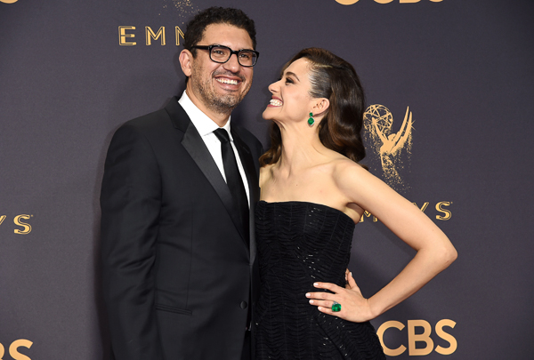 "<div class=""meta image-caption""><div class=""origin-logo origin-image wpvi""><span>wpvi</span></div><span class=""caption-text"">Sam Esmail, left, and Emmy Rossum arrive at the 69th Primetime Emmy Awards. (Richard Shotwell/Invision/AP)</span></div>"