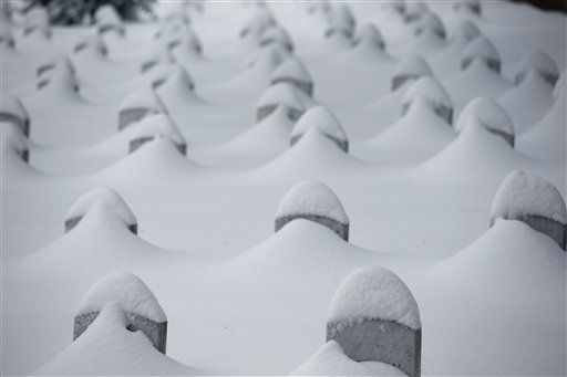 <div class='meta'><div class='origin-logo' data-origin='none'></div><span class='caption-text' data-credit='AP Photo/ Alex Brandon'>Headstones are nearly covered by snow at Arlington National Cemetery, Saturday, Jan. 23, 2016 in Arlington, Va.</span></div>