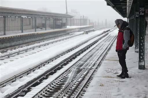 <div class='meta'><div class='origin-logo' data-origin='none'></div><span class='caption-text' data-credit='AP Photo/ David Boe'>A man waits for a D train at the snow-covered 25th Avenue stop in the Brooklyn borough of New York on Saturday, Jan. 23, 2016, in New York.</span></div>
