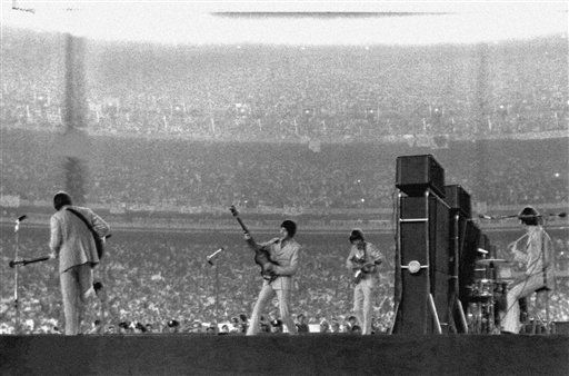 The Beatles perform at New York's Shea Stadium on August 15, 1965. <span class=meta>AP Photo</span>