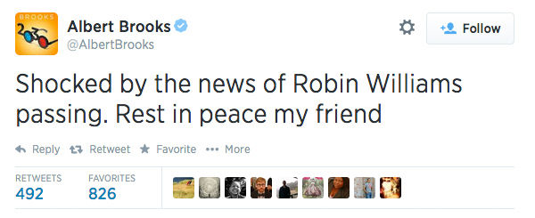 Actor and writer Albert Brooks expressed his condolences. <span class=meta>AlbertBrooks / Twitter</span>