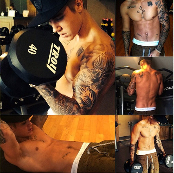 Bieber shows off his body at the gym. <span class=meta>Instagram.com/justinbieber</span>