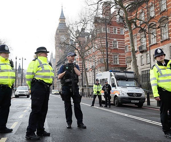"<div class=""meta image-caption""><div class=""origin-logo origin-image kabc""><span>kabc</span></div><span class=""caption-text"">Police officers stand guard on a road leading to the Houses of Parliament in London, Thursday March 23, 2017. (Kirsty Wigglesworth/AP Photo)</span></div>"