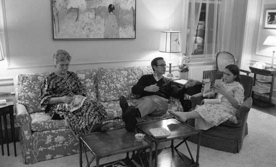 <div class='meta'><div class='origin-logo' data-origin='none'></div><span class='caption-text' data-credit='The LIFE Picture Collection'>United States Ambassador to the United Nations (and future US President) George H.W. Bush sits with his wife, Barbara Bush, and the couple's daughter, Dorothy in DC in 1971</span></div>
