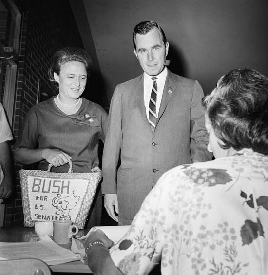 <div class='meta'><div class='origin-logo' data-origin='none'></div><span class='caption-text' data-credit='AP'>George Bush and his wife Barbara cast their votes in Houston for the Texas senate primary race, June 6, 1964.</span></div>