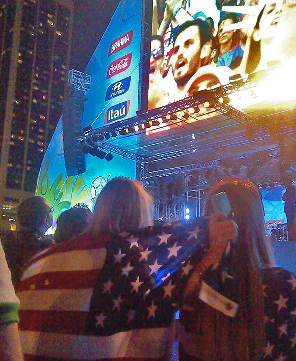 Red, white and blue flags waved in the air with support from Argentinian, Chilean and Brazilian spectators also rooting for USA in this decisive game. <span class=meta>(ABC Photo&#47; Karina Vigo)</span>