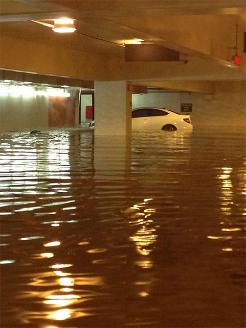 Parking garages four and seven took on a significant amount of water. <span class=meta>(FutureNBAAgent &#47; Twitter)</span>