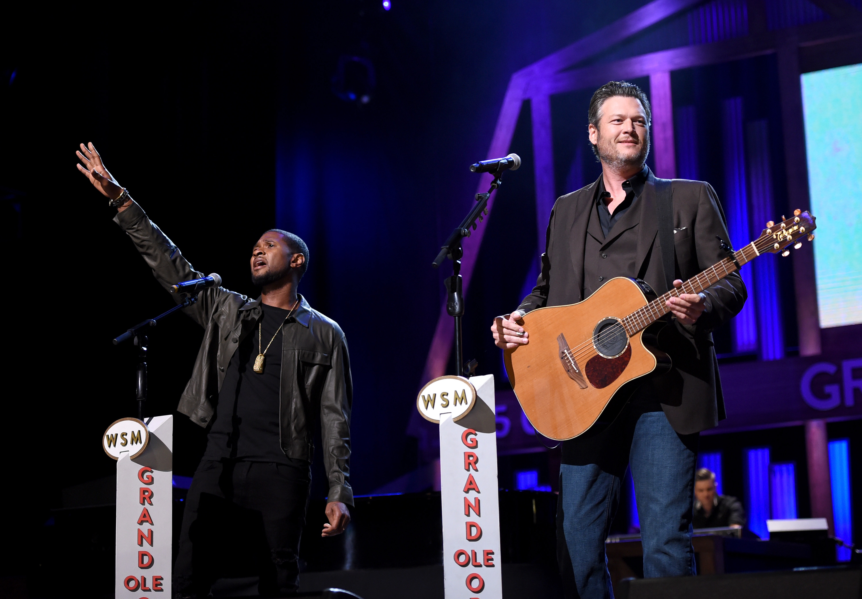 "<div class=""meta image-caption""><div class=""origin-logo origin-image none""><span>none</span></div><span class=""caption-text"">Usher and Blake Shelton perform onstage during Hand in Hand: A Benefit for Hurricane Relief at the Grand Ole Opry House on September 12, 2017 in Nashville, Tennessee. (John Shearer/Hand in Hand/Getty Images)</span></div>"