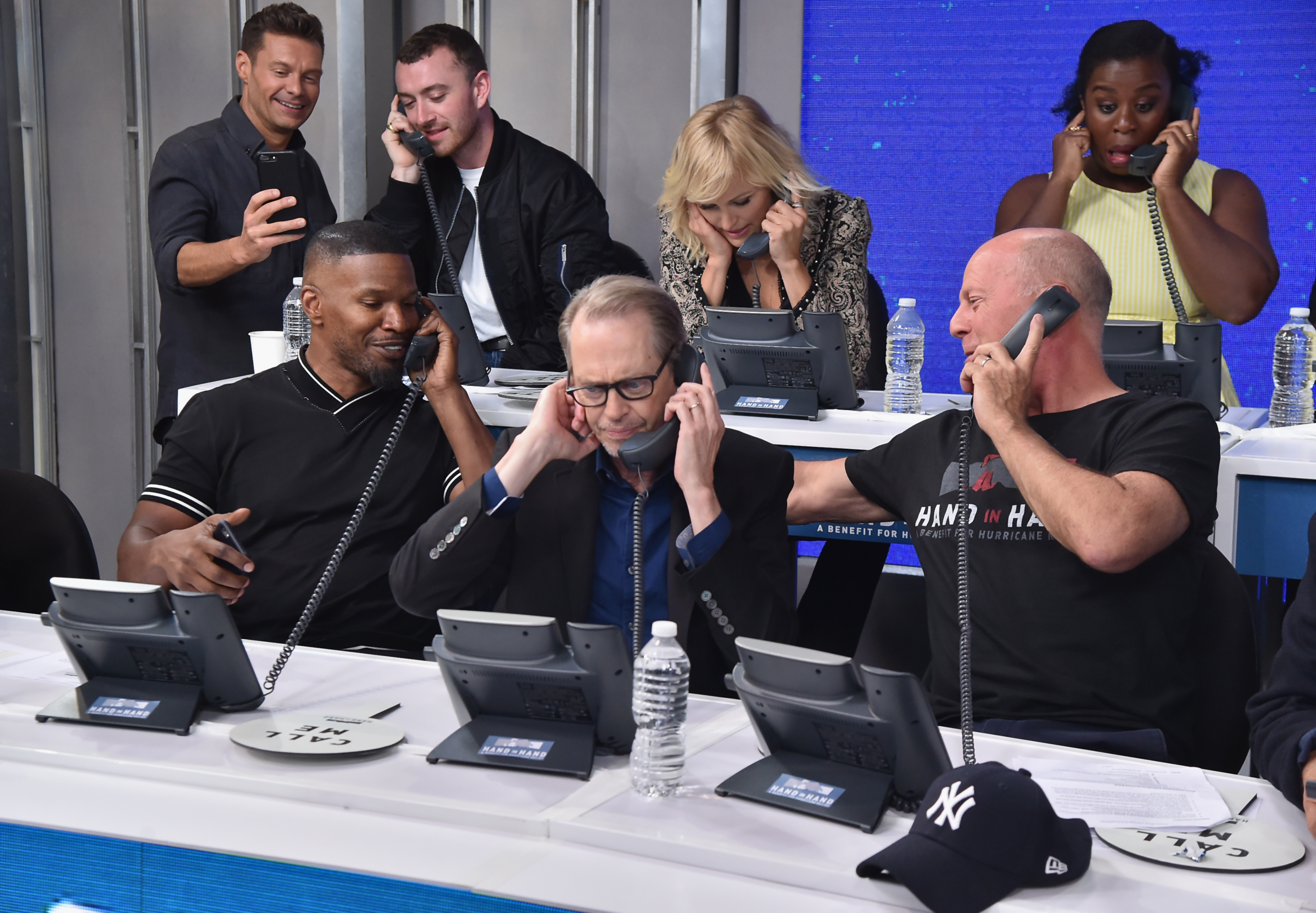"<div class=""meta image-caption""><div class=""origin-logo origin-image none""><span>none</span></div><span class=""caption-text"">Sam Smith, Jamie Foxx, Steve Buscemi, and Bruce Willis caption at ABC News' Good Morning America Times Square Studio on September 12, 2017 in New York City. (Theo Wargo/Hand in Hand/Getty Images)</span></div>"