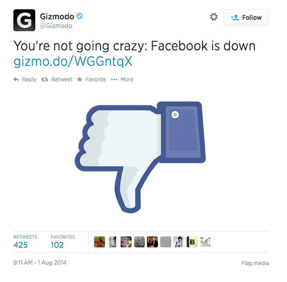 "<div class=""meta image-caption""><div class=""origin-logo origin-image ""><span></span></div><span class=""caption-text"">When Facebook goes down, Twitter reacts (Gizmodo / Twitter)</span></div>"