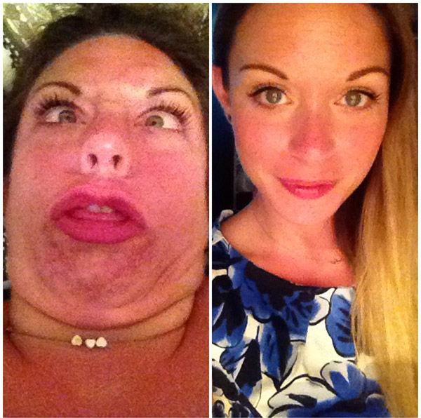 When she isn't too busy looking like a red beet in the left photo, this woman is beautiful on the right. <span class=meta>reddit.com/user/gowza18181</span>