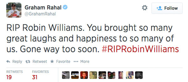 Social media outpours in grief over the death of actor Robin Williams. <span class=meta>GrahamRahal / Twitter</span>