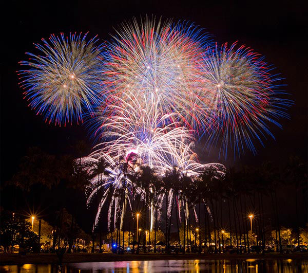 "<div class=""meta ""><span class=""caption-text "">A fireworks display at Magicand Ala Moana Beach Park in Oahu. (Eugene Tanner / AP)</span></div>"