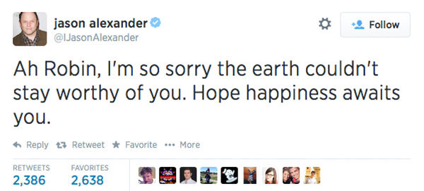 Actor Jason Alexander expressed his condolences. <span class=meta>(IJasonAlexander &#47; Twitter)</span>