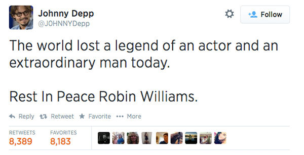 Actor Johnny Depp expressed his condolences. <span class=meta>J0HNNYDepp / Twitter</span>