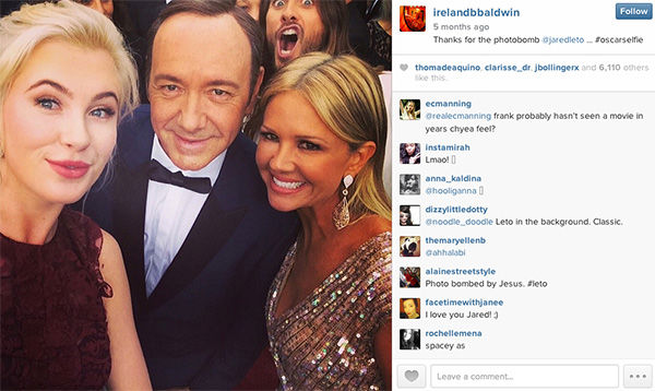 Jared Leto photobombs Kevin Spacey at the Oscars. <span class=meta>(irelandbbaldwin &#47; Instagram)</span>