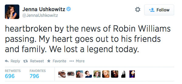 Actress Jenna Ushkowitz expressed her condolences <span class=meta>(JennaUshkowitz &#47; Twitter)</span>