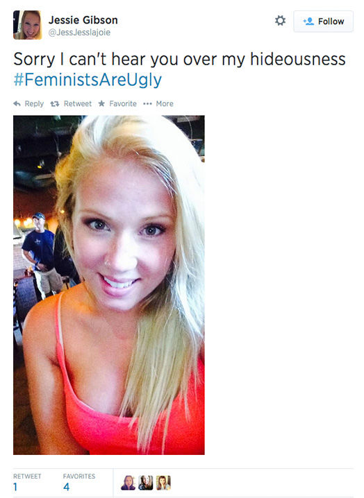 The arrival of a new hashtag, #FeministsAreUgly, has feminists around the world posting selfies on Twitter, repurposing the word &#39;ugly&#39; to mean something beautiful. <span class=meta>(JessJesslajoie &#47; Twitter)</span>